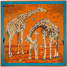 2020 Joker Große Größe Platz Seide Bandanas Frauen Mode Twill Giraffe Schal Schal Animal Print Großen Bandanas Großhandel 130*130CM