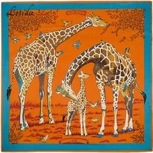 2020 joker tamanho grande quadrado bandanas de seda das mulheres moda sarja girafa cachecol xale animal impressão grandes bandanas atacado 130*130 cm