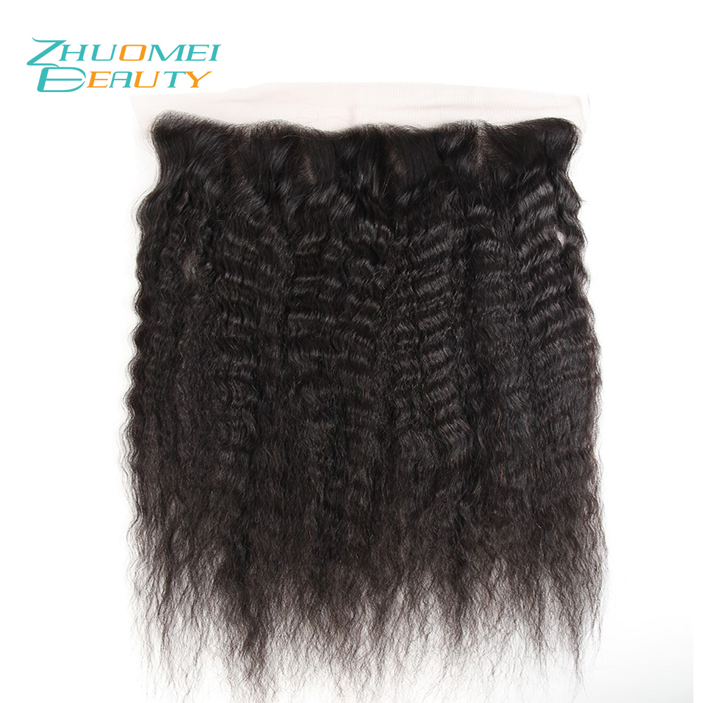 Zhuomei BEAUTY Brazilian Kinky Straight Hair Lace Frontal Closure 13x4 Free Part Swiss Lace Ear To Ear Remy Human Hair 10-20inch
