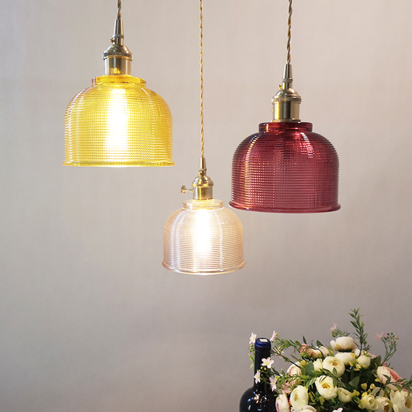 Nordic glass pendant light fixture with switch 5 colors all copper lampholder creative hanging lamps for