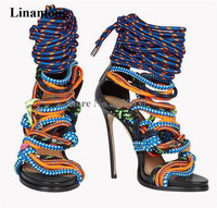 Sexy Ladies Mix colored Rope Cross High Heel Sandals Cut out Platform Gladiator Sandals Bandage Super High Thin Heel Shoes