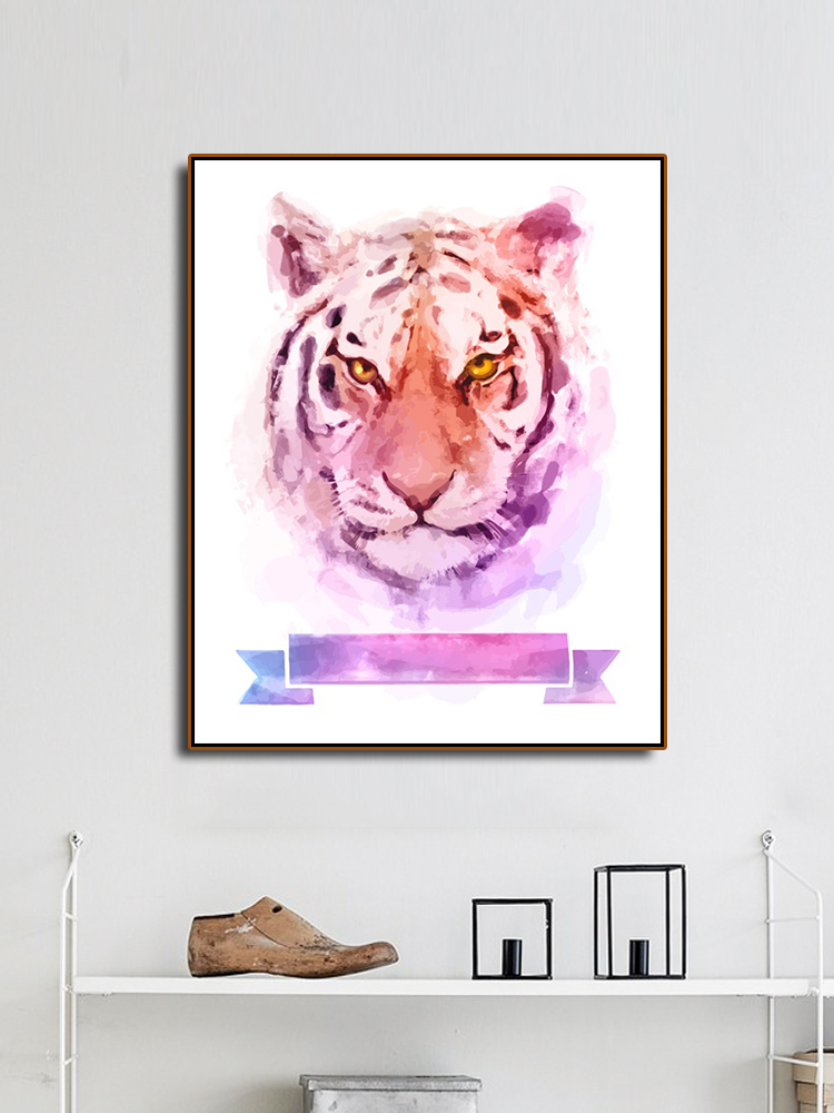 Laeacco Watercolor Tiger Decoration Canvas Painting Calligraphy Wall Pictures For Living Room Bedroom Artwork Modern Home