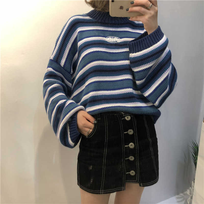 Women Sweaters 2018 New Harajuku Kawaii Sweaters Cute Sweet Vintage Striped Oversize Knit Pullover Sweaters B460