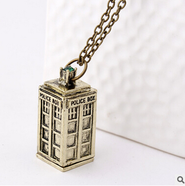 Trendy retro fashion women doctor who necklace girls gift men Telephone booth necklaces alloy fj284 YOUREM