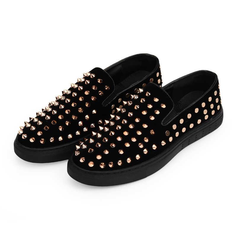 POLALI/Мужская Свадебная обувь для вечеринки; Модные мужские лоферы с шипами; Повседневная блестящая обувь для вождения с заклепками; Мужская обувь на плоской подошве; Цвет черный, золотой