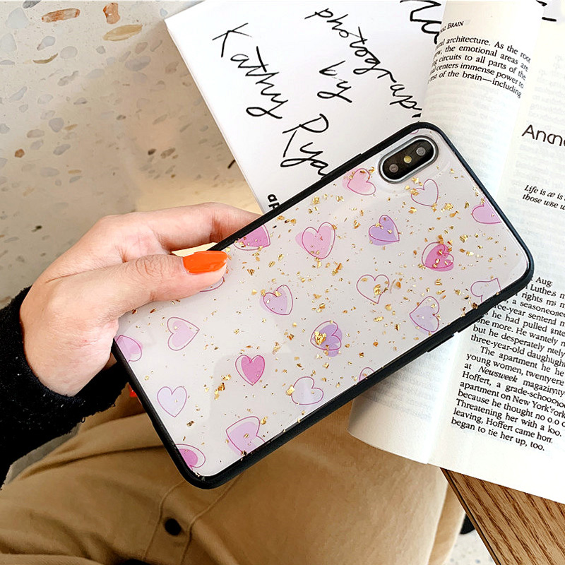 KIPX1088_9_JONSNOW Phone Case for iPhone XS XR XS Max 6S 7 8 Plus Gold Foil Love Heart Style Tempered Glass Back Cover Cases