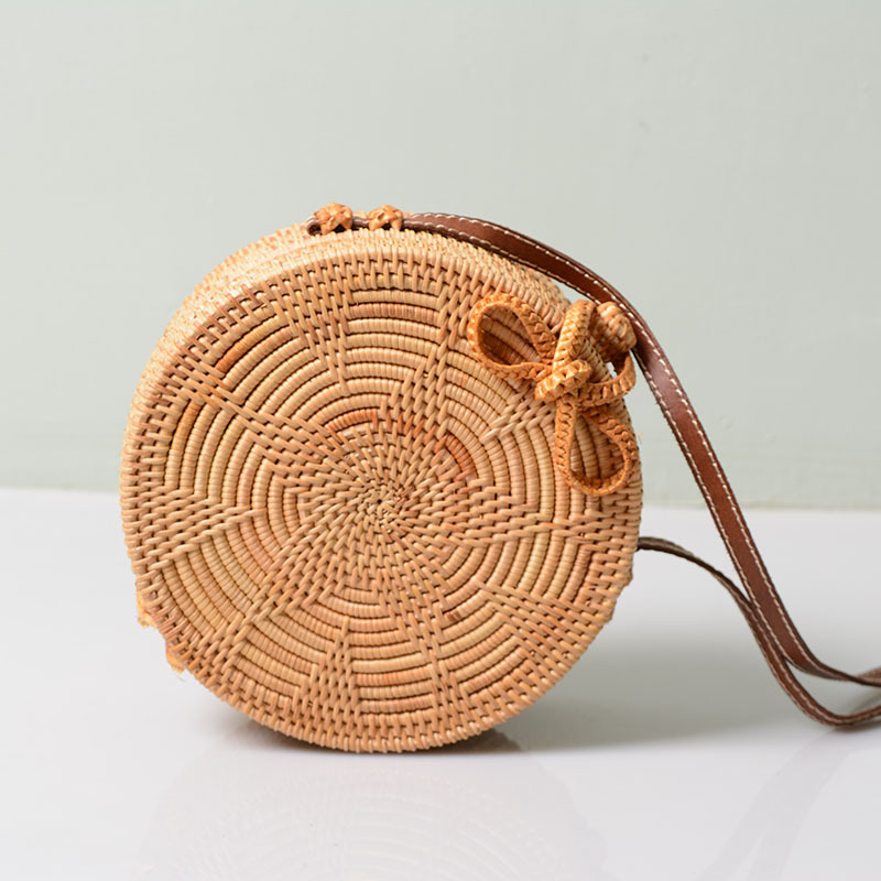 JULY'S SONG Fashion Women Hand Woven Bag 20*8 Size Round Rattan Straw Bags Bohemia Style Beach Circle Bag For Ladies Handbags aequeen vietnam hand woven bag round rattan straw bags crossbody bag for women 2018 bohemia style beach circle bag ins popular