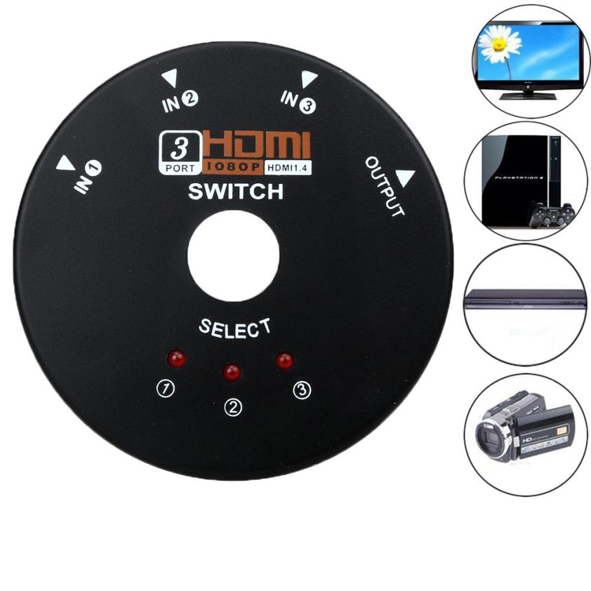 3 Port 1080P HDMI Switch Switcher Splitter For HDTV PS3 HD DVD Round datum cable18Apr18