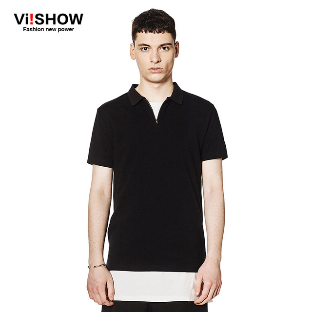 VIISHOW Brand Polo Zipper Men Shirt Men 's Short Sleeve Business Casual Black Polo Shirt Breathable Shirts PD52762