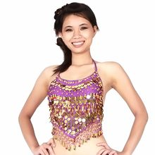 d258826927 Sequins Beads Bells top gold coins New belly dance Costume Club dancing  clothe Bra(China