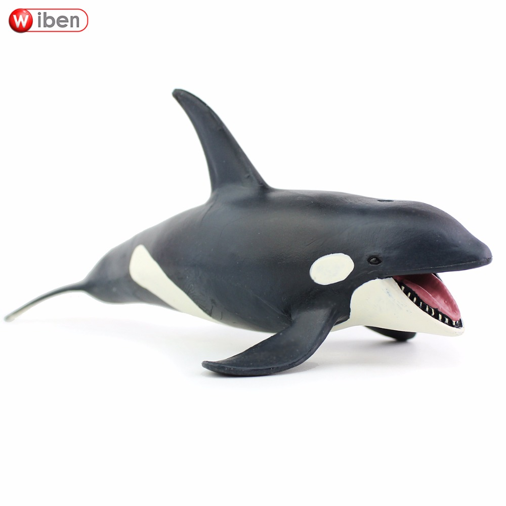 Wiben Sea Life Killer Whale Simulation Animal Model Action & Toy Figures Learning & Educational Marine  Christmas Gift for Kids starz animals emperor penguin static model plastic action figures educational sea life toys gift for kids