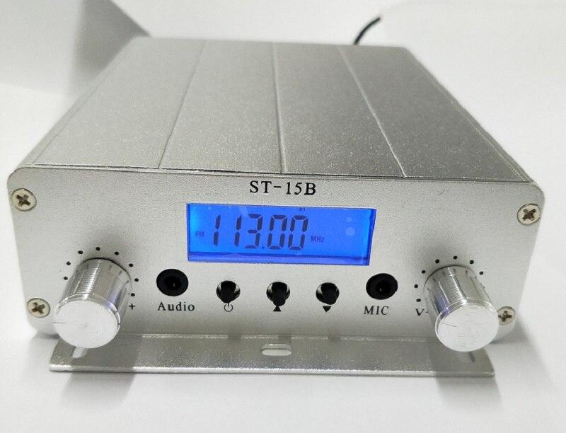 New model 15W FM broadcast transmitter ST 15B stereo PLL fm radio broadcast station with 76MHz