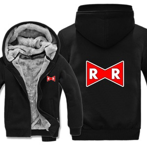 Image 3 - Dragon Ball Z Red Ribbon Army hoodies Cartoon Jacket Thicken Hoody Zipper Winter Fleece Dragon Ball Z Sweatshirt
