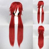 Аниме Black Butler Грелль Сатклифф 100 см длинные красные Косплэй парик тепла устойчивые волос Парики