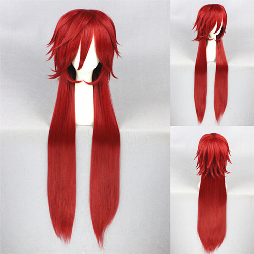 Anime Black Butler Grell Sutcliff 100cm Long Red Cosplay Wig Heat Resistent Hair Wigs black butler kuroshitsuji grell sutcliff cosplay wigs long red synthetic hair women girl anime party wig red glasses chain