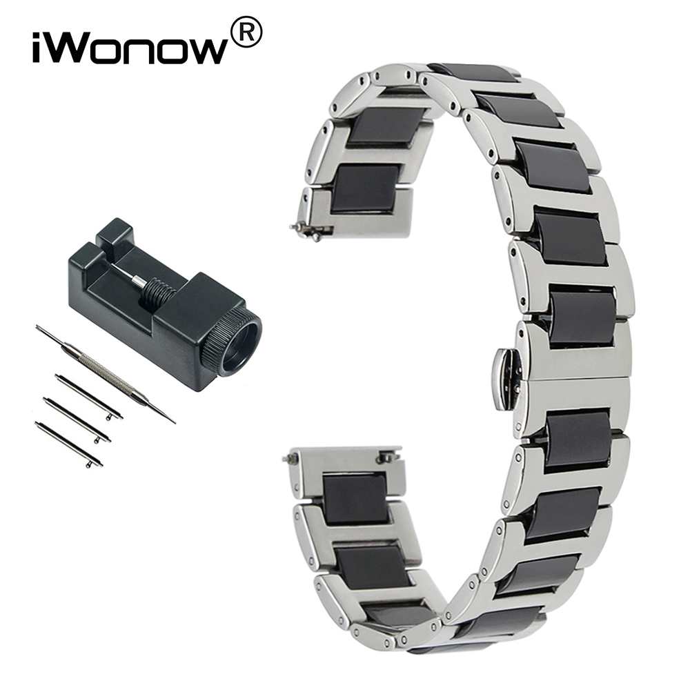 Ceramic & Stainless Steel Watchband + Tools for Tissot Hamilton Citizen Quick Release Watch Band Wrist Strap 12 14 16 18 20 22mm isunzun watch bands for tissot 1853 t045 407a t045 harbor series steel strip brand watch straps stainless steel watch chain