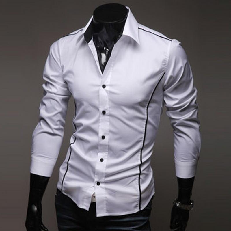 Mannen Shirt Fashion Cotton Slim Mannen Shirt Lange Mouw Hoge Kwaliteit Casual Zwart/wit/grijs Mannen Shirt Voor Mannen Maat: M-xxxl