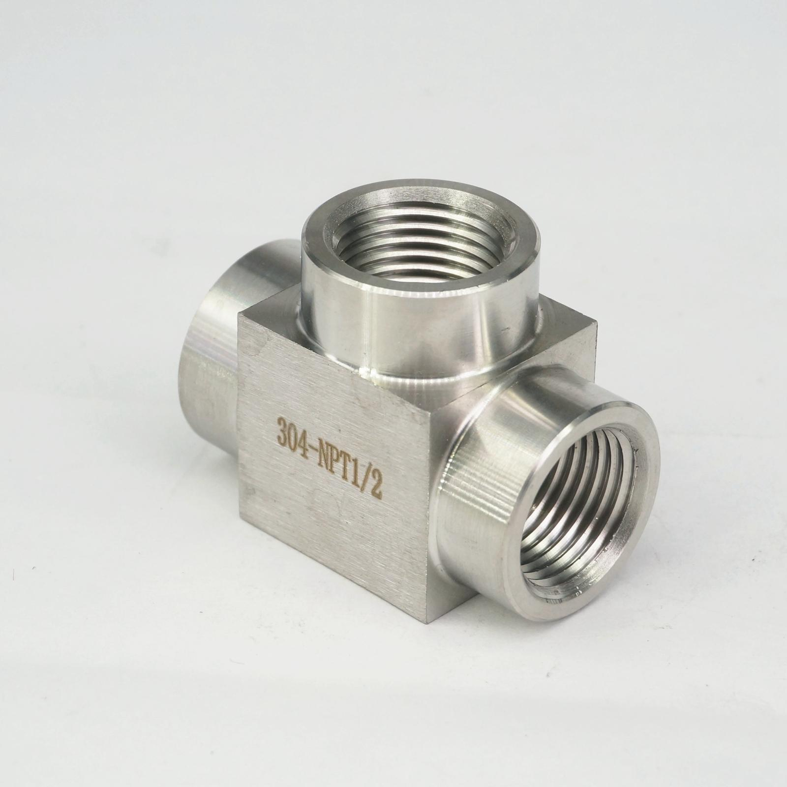 """1 piece x 1-1//2/"""" Tee 3 way Female Stainless Steel 304 Threaded Pipe Fitting NPT"""
