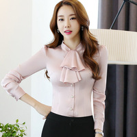 Elegant Blouse White Shirt Women Working Ladies Office Shirts Formal Uniform Cotton Blouse Tops Long Sleeve