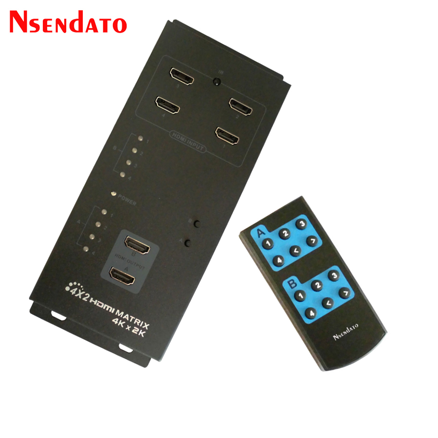 цена на Nsendato LKV342 Pro 4x2 HDMI Matrix Switch 4Kx2K 4 In 2 Out HDMI Splitter Adapter 4x2 With IR Remote Control HDMI Switcher