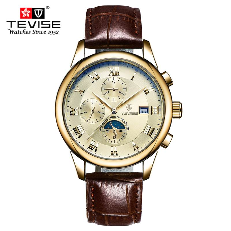 TEVISE Sport Watches Men Luxury Brand Six pin multi function Moon Phase Mechanical Watch Men Army