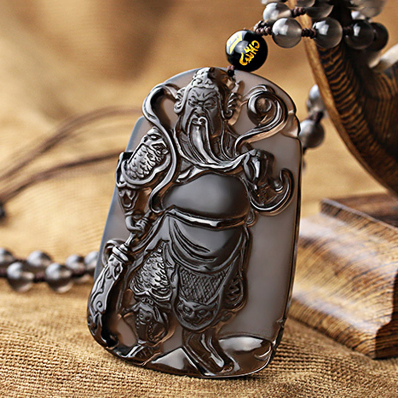 KYSZDL Drop shipping Natural Hand Carved ice species obsidian guan gong pendant transhipped lucky pendant free round bead rope in Pendants from Jewelry Accessories