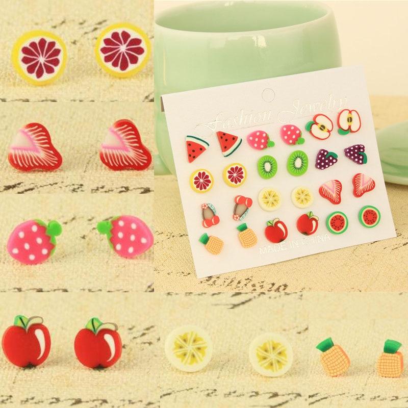 Hot 12 Pairs/Set Lady Girl Cute Fashion Fruit Shape Ear Stud Colorful Earrings Jewelry Gift
