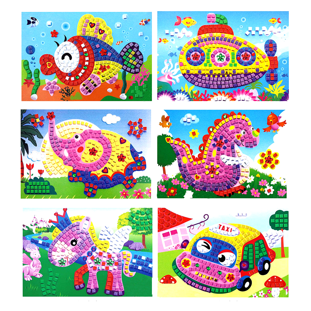 3D Foam Mosaics Sticky Crystal Art Sticker Game Craft Toys For Kids Children Gift Toy Intelligent Development Style Random Send