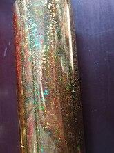 Хорошее Голографическая фольга кошачий глаз цвет золотистый Горячее тиснение фольгой на бумаге или пластиковой 64 см x 120 м