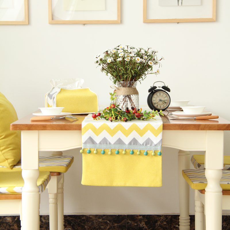 DUNXDECO Table Runner Poly Cotton Blend Nordic Yellow Gray Wave Fabric  Tablecloth Mesa Party Decoration Pop Art In Table Runners From Home U0026  Garden On ...