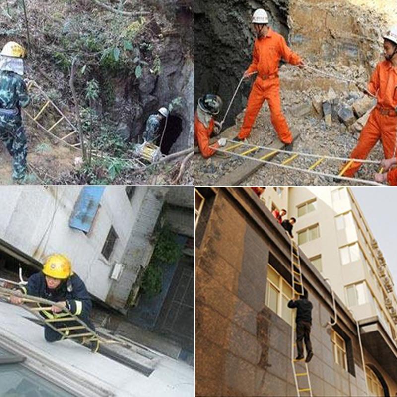 5 м спасательная веревочная лестница 17FT Спасательная Лестница аварийная Рабочая безопасность ответ пожарная спасательная скалолазание спасение дерево наружная защита