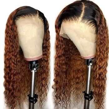Kolorowe 360 koronki Frontal peruka brazylijski koronki przodu Ombre peruki z ludzkich włosów kobiet Remy Water Wave pre oskubane pełne końce zamknięcie peruka tanie i dobre opinie ATINA QUEEN Falista Brazylijski włosy Remy włosy Ciemniejszy kolor tylko Swiss koronki Średni brąz Średnia wielkość