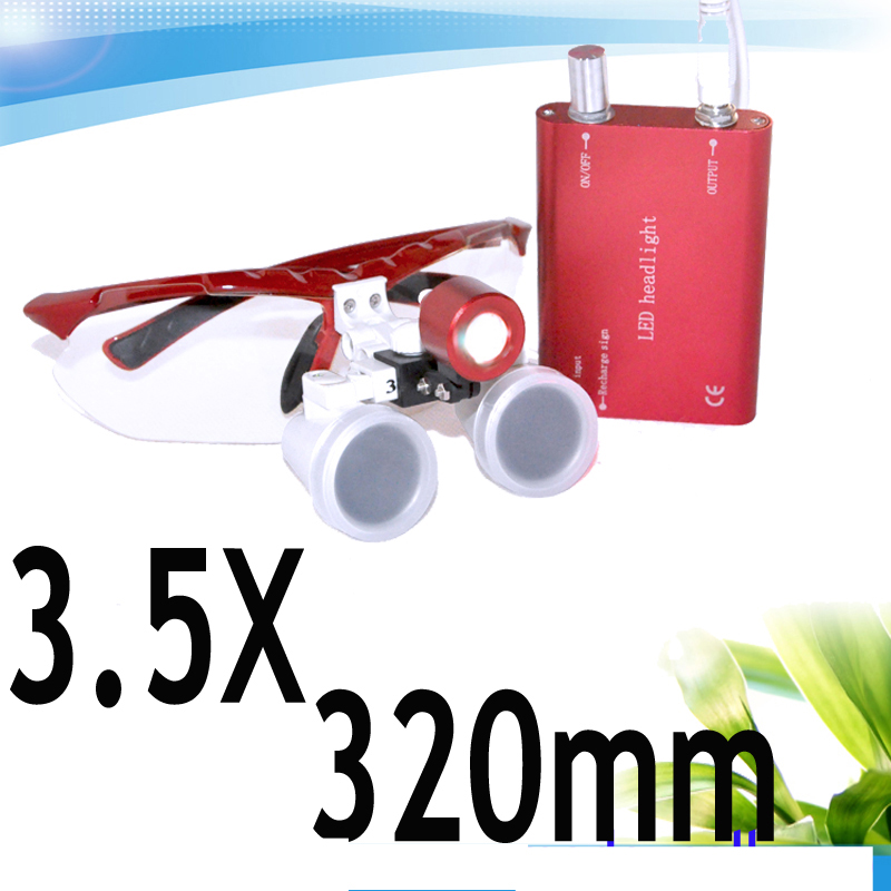 Red Popular 3.5X320mm Dentist Dental magnifier Surgical Medical Binocular Loupes with LED headlight lamp S+V