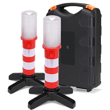 2PCS Road Security Flashing Strobe Light LED Portable lamp With 2 Stand For Traffic Warnings/Roadblocks/Camping/Hike