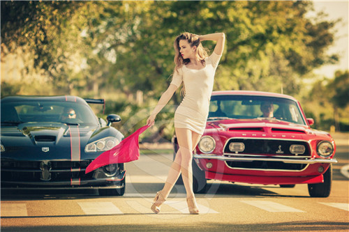 A 158 Custom Ford Mustang Hot Girl 3 Home Decor Fashion Modern For Bedroom