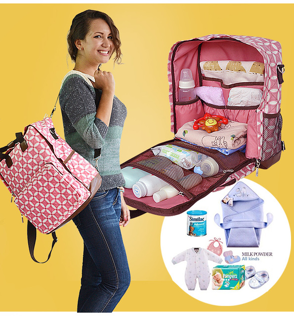 Promition! Baby Diaper Bag Suits For Mom Baby Bottle Holder Fashion Mother Mummy Stroller Maternity Bag Nappy Bags
