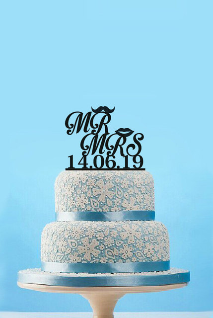 Mr and Mrs Cake Toppers Funny Mustache and Lip Wedding Cake Topper