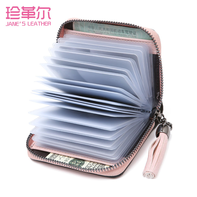 JANE'S LEATHER Women Function Card Holder Case ID Credit Passport Cover Tassel Cards Wallet Document Bag Carteira Mujer Girl