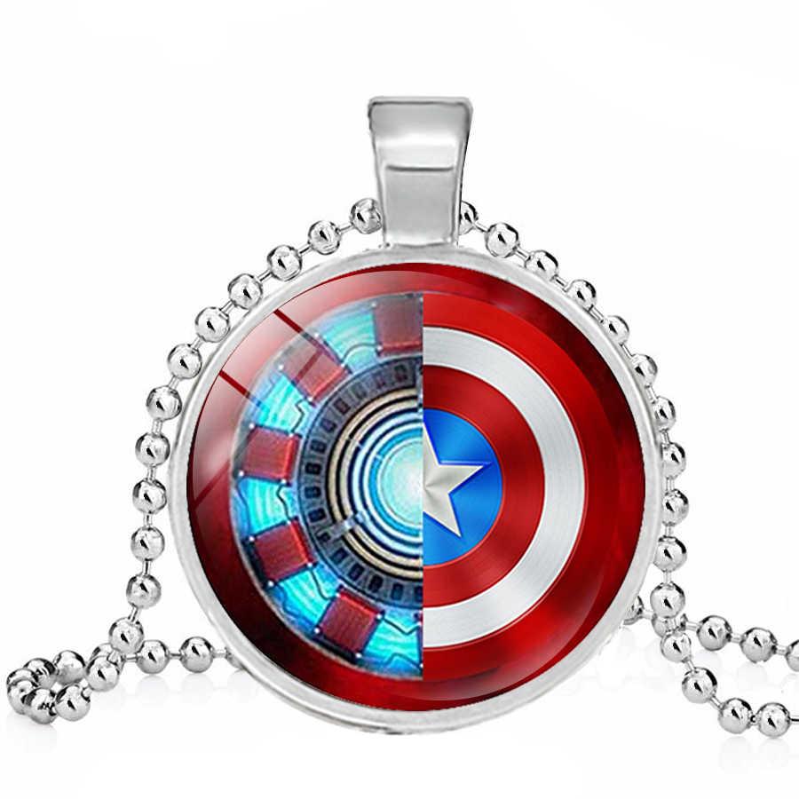 Avengers Movie Collana Serie Iron Man Arc Cuore E Captain America Shield Star di Vetro Tempo Gemma Portachiavi Pendenti con gemme e perle Collane