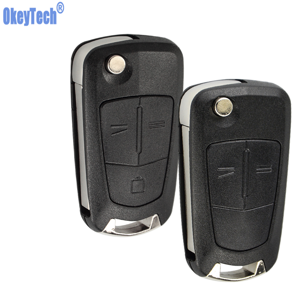 OkeyTech Flip Key Shell For OPEL Astra Corsa D Vectra C Zafira 2 3 Buttons Remote Car Key Case Uncut Blade Blank Replacement