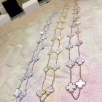 Hot Top Quality Fashion Jewelry For Women Long Chain Necklace Mother Shell Pearl 20 Four Leaf
