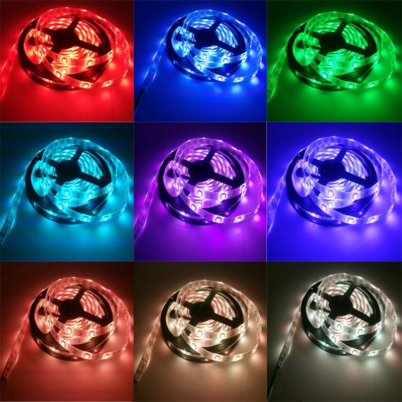 10M RGB LED Strip 5M 5050 SMD LED Light Tape Flexible Ribbon Waterproof IR Remote Controller DC 12V Power Adapter Full set