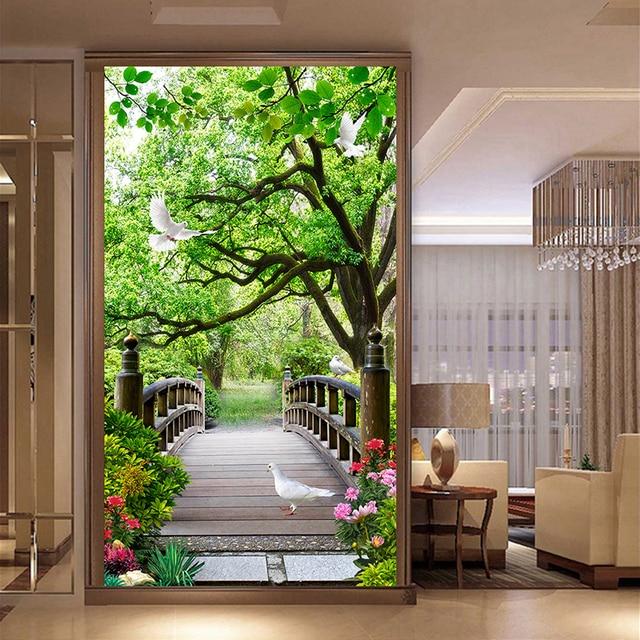 3D pont en bois paysage peinture moderne papier peint entrée couloir ...