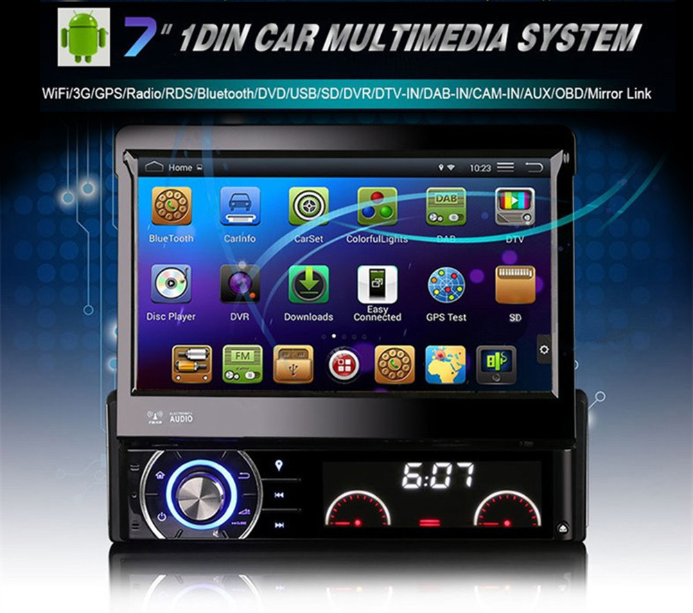 Universal Quad Core font b Android b font Car DVD 1 DIN Car Video Player WIFI