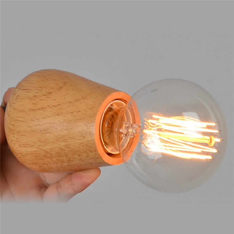 Sanyi Moderen Tunggal Kepala Kayu Liontin Ringan untuk Kopi Rumah Dapur Lustre Pencahayaan Dalam Ruangan Kawat Hitam Antik Loft Hanglamp
