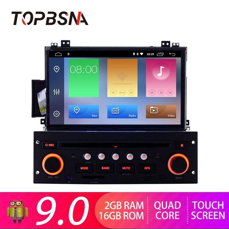 Lecteur DVD de voiture TOPBSNA 7 pouces 1 DIN Android 9.0 pour citroën C5 GPS Navigation Bluetooth RDS commande au volant WIFI Navi SWC