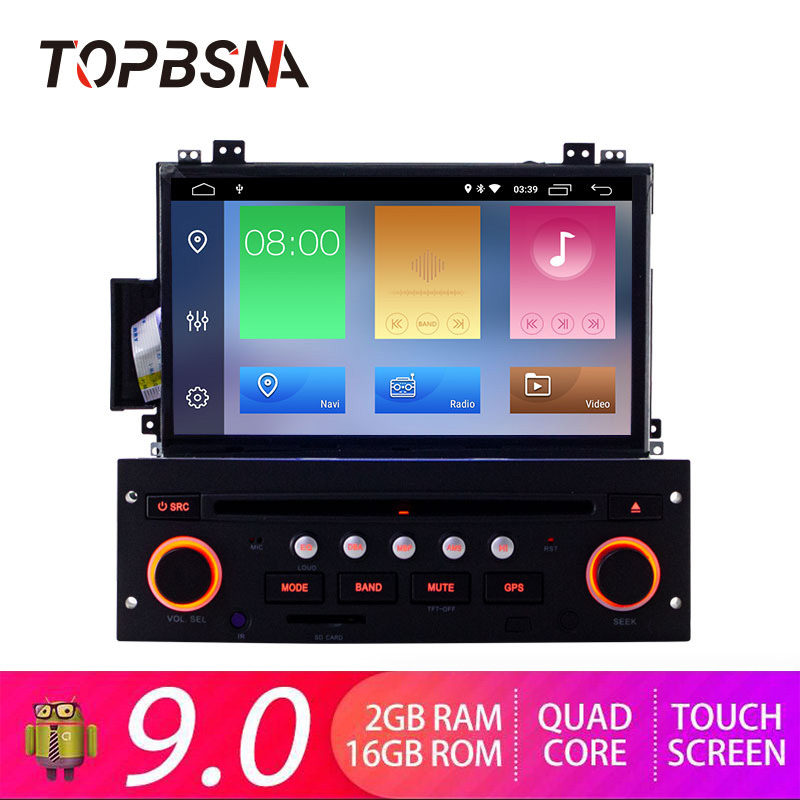 TOPBSNA 7 inch <font><b>Car</b></font> DVD Player <font><b>Android</b></font> 9.0 For Citroen C5 GPS Navigation 1 Din <font><b>Car</b></font> Radio Multimedia Wifi Stereo RDS Headunit auto image
