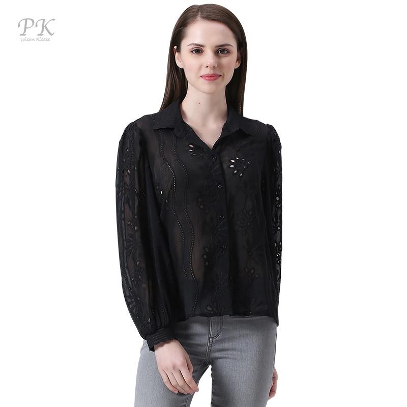 PK negro opacidad bordado mujer blusas 2017 feminina casual blusa mujeres de man