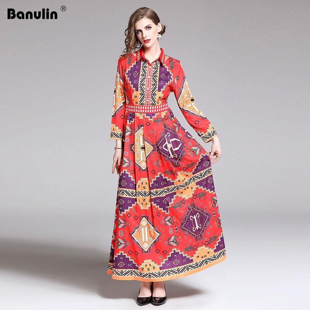 Banulin 2019 Summer Runway Elegant Floral Print Long Sleeve Long  Maxi Party Dress Womens Boho Vestidos Robe Femme B7226Dresses   -
