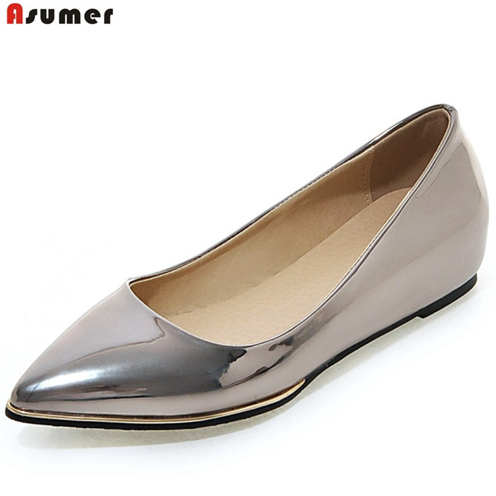 ASUMER gold silver fashion spring autumn ladies single shoes pointed toe shallow casual women increased internal low heels shoes 2016 women leg cross lace up single flat gold silver shoes lady pointed toe sole single shoes hot female stra shoes 35 39